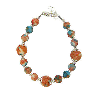 Orange/blue/white 2 size bead bracelet
