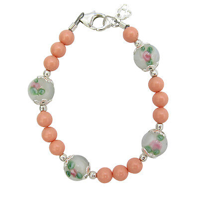 Coral and white and pink lampwork bead bracelet