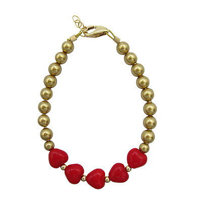 Baby and Child Bracelet Red Heart with Gold Pearls