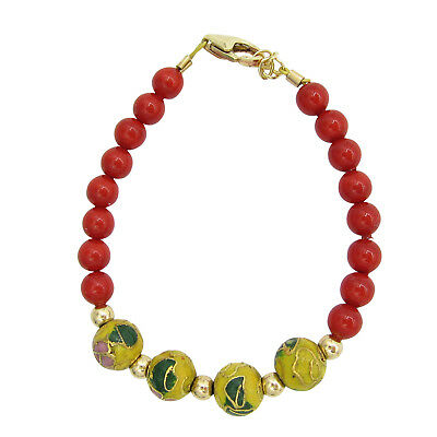 Red pearl with yellow Cloisonne beads bracelet