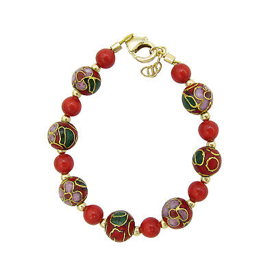 Red pearl with red and green cloisonne bead bracelet