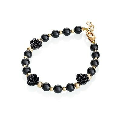Black flower with gold filled bead bracelet