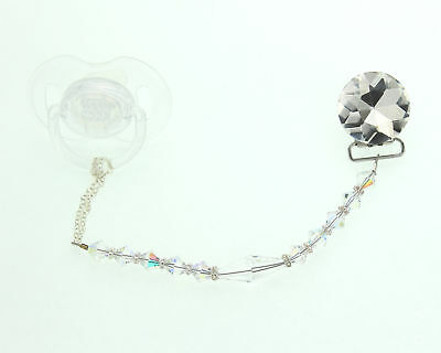 Clear Crystal Baby Pacifier Clip