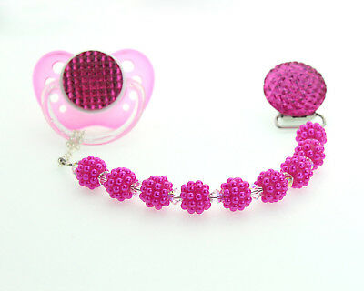 Hot Pink Crystal and Bumpy Pearl Baby Pacifier Clip