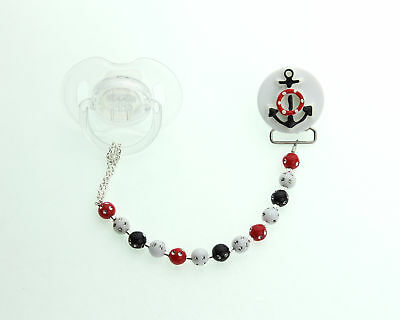 Black & Red Anchor with Matching Acrylic Beads Baby Pacifier Clip