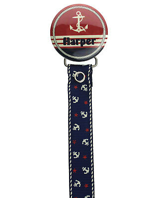 Personalized Name Nautical Pacifier Clip