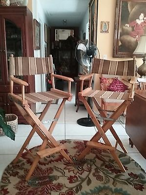 Vintage director's chairs/2/stained oak/new indoor/outdoor fabric
