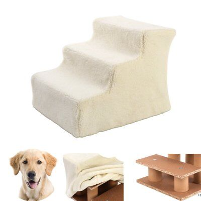 New Pet Cat Doggy Dog 3 Steps Ladder Soft Stairs Puppy Washable Cover Ramp UK