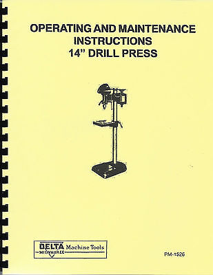 "Delta/Milwaukee 14"" Drill Press Operating & Maintenance Manual dp-220"