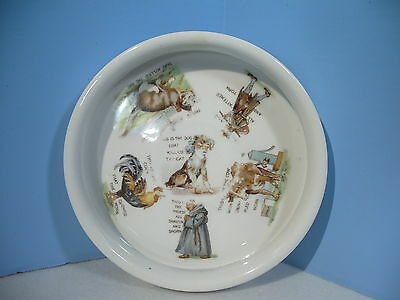 Baby Dish Plate Antique Three Crowns Childs Porcelain Cat that Killed the Rat