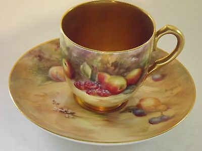 """""""RARE""""Royal Worcester Fruit Hand Painted Cup & Saucer by W.Bagnell"""