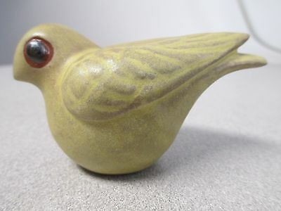 Signed Studio Pottery Song Bird Figure Frosty Yellow Green Matte Glaze Red Clay