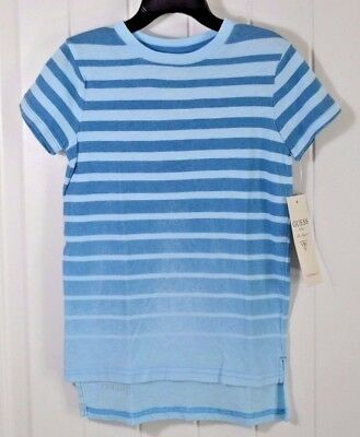 d5a930a308da Nwt Boys Guess Kid Blue Striped Fade Short Sleeve Crew Long T Shirt Sz 3T,