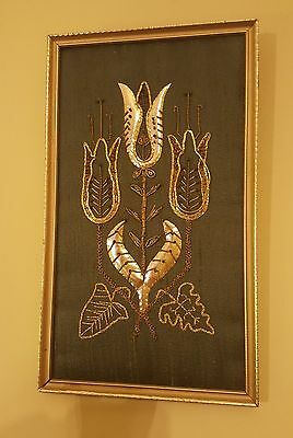 Vintage Panel Picture Beaded Embroidery Fabric Framed Flower Wall Art