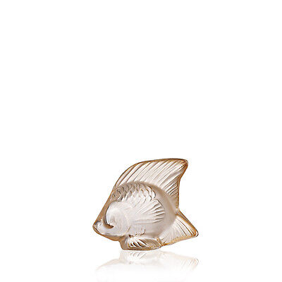 Lalique Fish sculpture Gold luster crystal