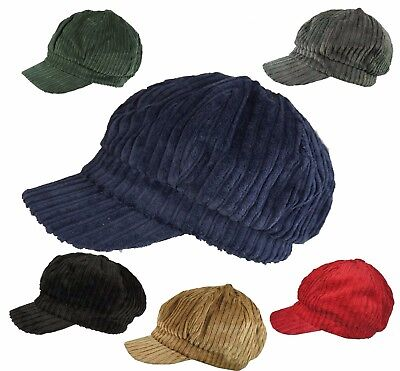 Ladies Cord  BAKER BOY CAP HAT News Boy QUALITY Corduroy  Black Navy  Red GREEN