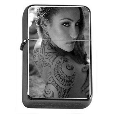 Tattoo Pin Up Girls D27 Windproof Dual Flame Torch Lighter Refillable