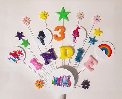 Trolls personalised birthday cake topper / handmade, any name and age