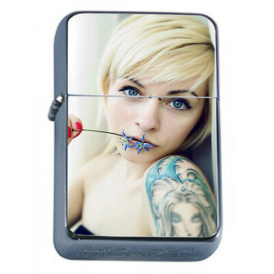Tattoo Pin Up Girls D28 Windproof Dual Flame Torch Lighter Refillable