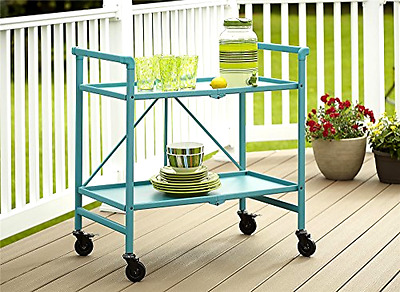 Utility Cart With Wheels Teal Blue Kitchen Serving Table Storage Rolling Folding