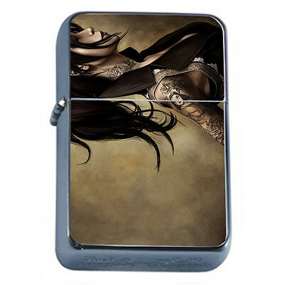 Tattoo Pin Up Girls D30 Windproof Dual Flame Torch Lighter Refillable