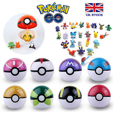 Pokemon Pokeball + Pikachu Figures inside Toy Kids Poke UK STOCK !! FAST & FREE
