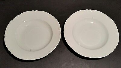 Hutschenreuther Wallace Racine Rimmed Soup Bowls 8 3/8 Inches White Lot of 2