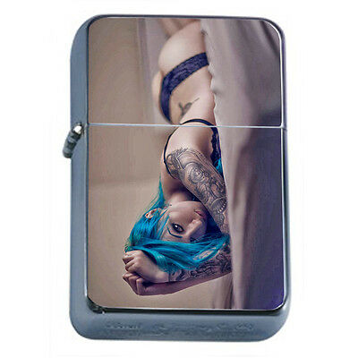 Tattoo Pin Up Girls D33 Windproof Dual Flame Torch Lighter Refillable