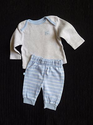 Baby clothes BOY newborn 0-1m blue/grey outfit long sleeve top/stripei trousers