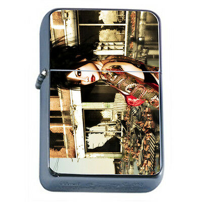 Tattoo Pin Up Girls D37 Windproof Dual Flame Torch Lighter Refillable