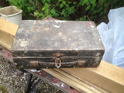 Vintage Wooden Box Artist with Hinged Lid