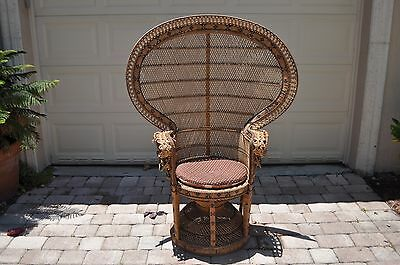Boho Bohemian Throne Retro Mid-Century 70's Peacock Rattan Wicker Fanback Chair
