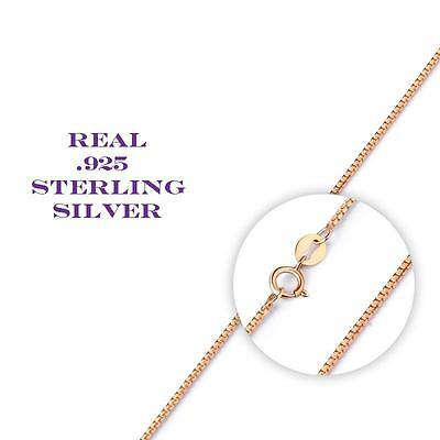 Rose Gold over Sterling Silver Thin Box Chain Necklace for Pendants ALL SIZES