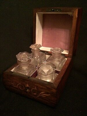 Antique 19th c  French Perfume Marquetry Wood Box with Four Crystal Bottles