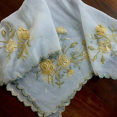 Antique Silk Ribbon Embroidered Roses on Fine Batise