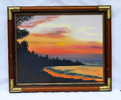 1984 Original Oil Painting on Canvas Signed by Artist  Landscape Sunset Framed