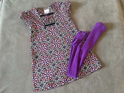 Hannah Andersson Dress matching tights size 110 GUC  5 6 adorable purples