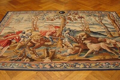 Wild Boar Hunting Medieval Royal Tapestry Design 6x9 ft Wool Flat Hand Woven