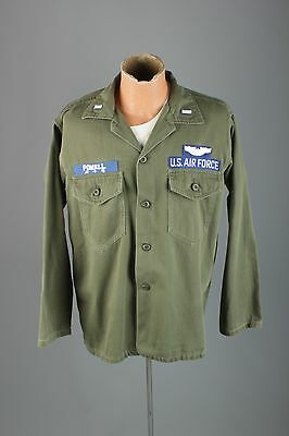 Vtg Men's Vietnam War US Air Force Cotton Sateen Patched Shirt L #3063 60s 70