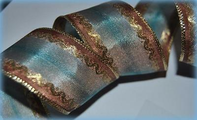 """RIBBON QUEEN """"Cafe de Paris"""" Aqua Ombre French WIRED WIRE EDGED   1.5"""" Christmas"""
