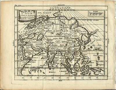 Antique Engraved 1761 Map of Asia by Claude Buffier