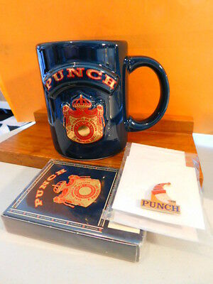 PUNCH Logo Coffee Cup~> PLUS DECK OF CARDS PLUS HAT/LAPEL PIN~> LOOK!