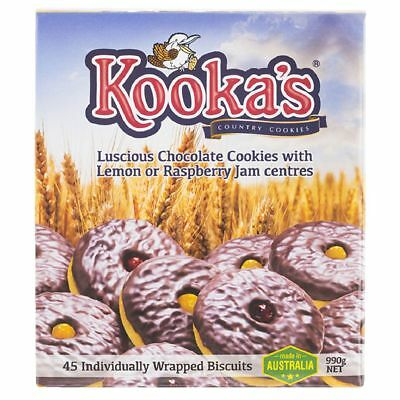Kookas Country Cookies Choc Lemon and Choc Raspberry 45 Pack
