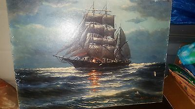 Vintage Nautical Painting Of Clipper Ship Signed & Dated W.r. 1930 Oil On Canvas