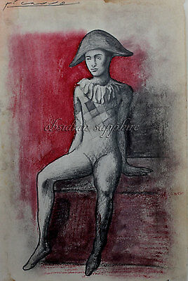 Signed Pablo Picasso art, drawing, painting, Original drawing, art artwork