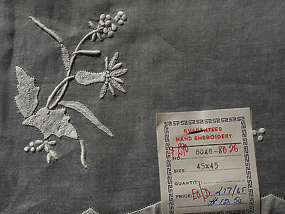 "VTG Organdy Hand Embroidery Flowers White Tablecloth NEW Great NWT 42.75"" Square"