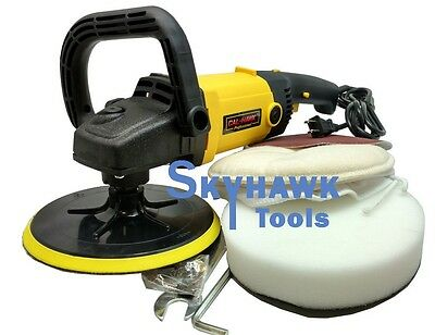 """7"""" 10A Variable 6-Speed Electric Auto Polisher Buffer Waxer Sander w/ Bonnets"""