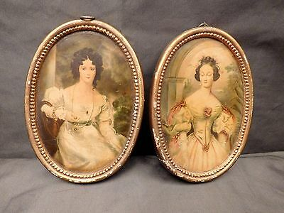 2 Borghese Gold Gilt Frame and Antique Print