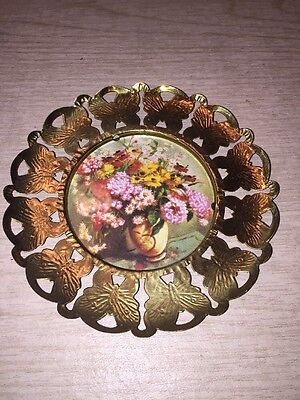 Butterfly Picture Frame Round Metal Brass Victorian Vintage Art Flowers Vase