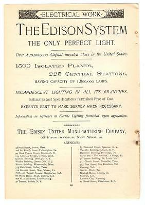 Antique Original 1889 FULL PAGE Print Ad / The Edison System - The Perfect Light
